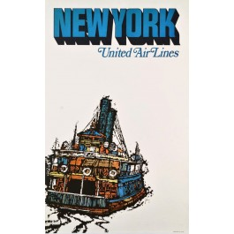 Original Vintage Travel Poster For New York United Air Line by Jebray 1967