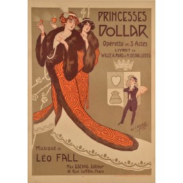 """Original Vintage French Opera Poster """"Princesses Dollar"""" by  Clerice"""