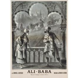 Original Vintage Advertising Poster Ali Baba Opera Comique Charles Lecocq