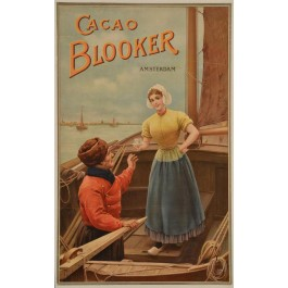 "Original Vintage Dutch Poster Advertising ""Blooker Cocoa"" ca. 1900"