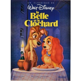 """Poster for """"La Belle et le Clochard"""" Walt Disney 1955"""