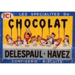 """Original Vintage French Maquette for """"Chocolat Delespaul-Havez"""" ca. 1900D"""