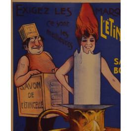 Original Vintage French Poster Bolle-Besson L'e'tincelle Savon Bougie 1910