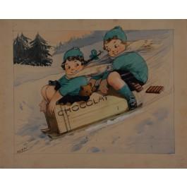 Original Maquette Advertising  Chocolate by Albert Dorfinant (1881-1976) - Dorfi