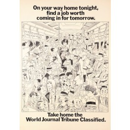 Original Vintage Poster Advertising World Journal Tribune by Wally Wood 1967