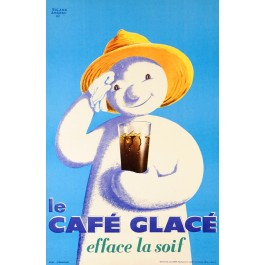 "Original Vintage French Poster ""Le Cafe Glace"" by Roland Ansieau 1960"