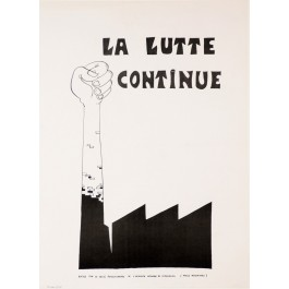 "Vintage French 1968 Student Revolution Poster ""LA LUTTE CONTUNE"""