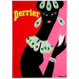 "Original Vintage French Poster Advertising ""Perrier"" by Villemot - 1980's"