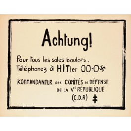 """Original Vintage French Student Revolution Poster """"Achtung""""  1968"""