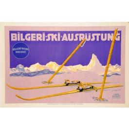 "Original Vintage Swiss Travel Poster ""Bilgeri-Ski-Ausrustung"" by Carl Kunst"