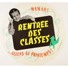 "Original Vintage French Poster ""Rentree des Classes"" by Bernard Baudouin 1952"