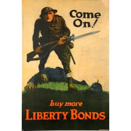 "WWI ""Liberty Bonds"" Poster ""Doughboy"" by Walter Whitehead 1918"