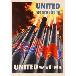 "Original Vintage American Prpoganda Poster ""United We Will Win"" WWII 1943"