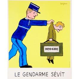 "Original Vintage French Whimsical Poster ""Le Gendarme Sevit"" by Raymond Savignac"
