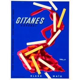 "Original Vintage French Poster ""Gitanes a lytho"" Cigarettes by Villemot 1960's"