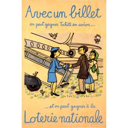 Original Vintage French Poster Loterie Nationale by Jean Effel ca. 1970