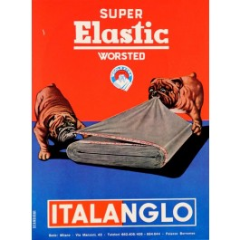 """Original Vintage Italian Advertising Poster for """"Italanglo - Super Elastic Worsted"""" 1950's"""