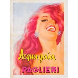 """Original Vintage Italian Poster for Brillantina """"Paglieri Acqua Gaia"""" by Moltrasio 1930's"""