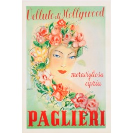 "Original Vintage Italian Poster for Brillantina ""Paglieri Velluto di Hollyhood"" by Annaviva 1952"