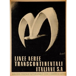 """Original Vintage Italian Travel Poster for """"Linee Transcontinentali Italiane S.A"""" by Boccasile 1940's"""