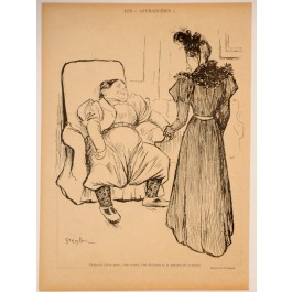 """Original Vintage Poster by Théophile Steinlen from the Magazine """"Les Affranchies"""" ca. 1900"""