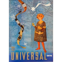 """Original Vintage Italian Advertising Poster for """"Universal Ginevra"""" Watches by Foto E. Marcatali 1950's"""