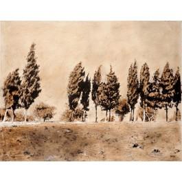 Original Acrylic On Canvas Landscape of Jerusalem From the series  of Jerusalem 3000 by Arie Azene 1992.