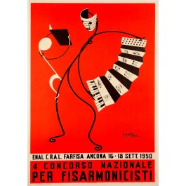 "Original Vintage Italian Advertising Poster ""Ancona Accordeon Festival"" 1950"