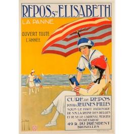 "Original Vintage Belgian Travel Poster ""REPOSE Ste ELISABETH"" ca. 1920"