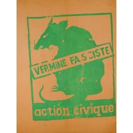 "Vintage French 1968 Student Revolution Poster ""Vermine Fasciste"""