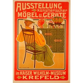 """Original Vintage Poster """"Ausstellung künstlerischer Möbel u Geräte"""" by Woude"""