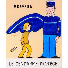 """French Poster """"Le Gendarme Protege"""" by Savignac"""