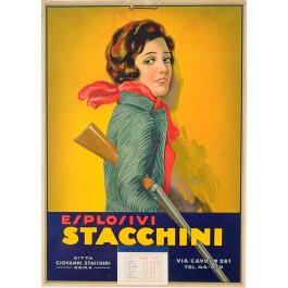 "Cardboard Advertisement for ""Esplosivi Stacchini"""