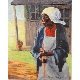 Original Signed Oil wood of African Woman by Vivian Merle ca. 1970