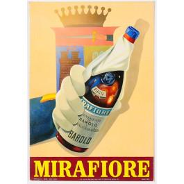 "Original Vintage Italian Alcohol Advertising Poster on Board for ""Barolo Mirafiore"" Wine 1950's"