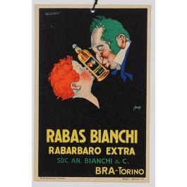 Original Vintage Italian Advertising Poster Rabas Bianchi liqueur by Achille Mauzan