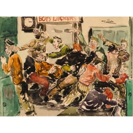 """Early Signed Watercolor """"Boys Lockers"""" by American Artist 1941"""