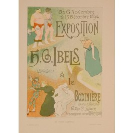 "Original Vintage French Lithograph ""Les Affiches Illustrees"" by H.S.Ibels 1890's"