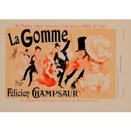 "Original Vintage French Litho La Gomme ""Les Affiches Illustrees"" by Cheret 1890"