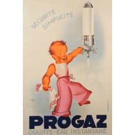 "Original Vintage French Advertising ""Progaz"" Poster by Léon Dupin ca 1950"