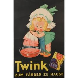 "Original Vintage German Advertising Poster for Fabric Dye ""TWINK"" ca. 1950"