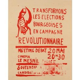 "Vintage French 1968 Student Revolution Poster ""REVOLUTIONAIRE"""