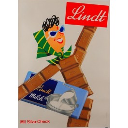 "Swiss Chocolate Advertising Poster ""Lindt Milch"""