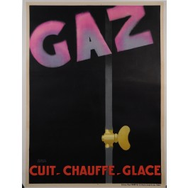 "Original Vintage French Art Deco Poster ""GAZ"" by Francis Bernard ca. 1930"