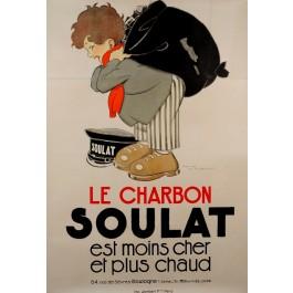 """Original Vintage Art Deco French Poster """"Charbon Soulatby"""" Rene Vincent 1920s"""