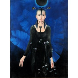 """Original Chinese Contemporary Art Acrylic on Canvas """"May Chen"""" Hey Feng 2005"""