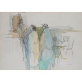 Original Painting SIGNED  Tarkay Watercolor At The Bar,1980, RARE