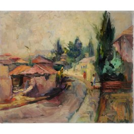 "Original Oil on Canvas of ""Mea Shearim"" in Jerusalem. RARE by Heddy Kun, 1967"