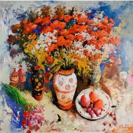 Original Signed Acrylic Oil on Canvas Painting Contemporary Ukrainen Art - Kim Tkatch