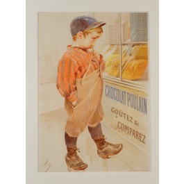 "Original Vintage French Advertising Poster ""Chocolate Poulain"" ca. 1900"